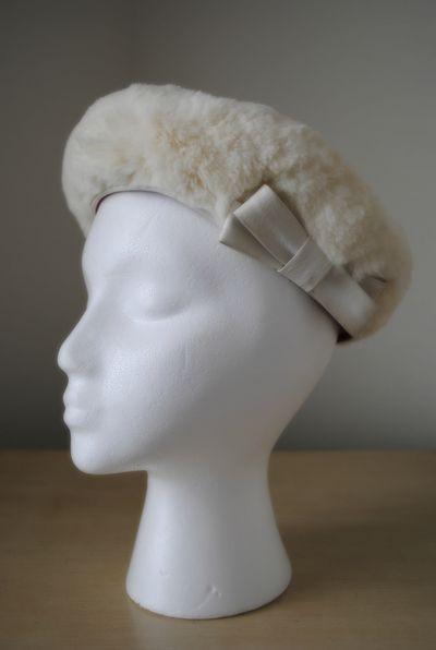 Vintage Ivory Fur Hat